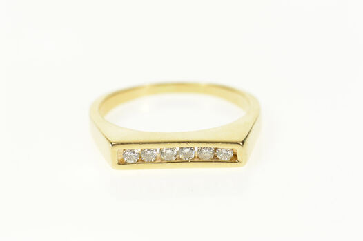 14K Squared Diamond Wedding Band Stackable Yellow Gold Ring, Size 8.25