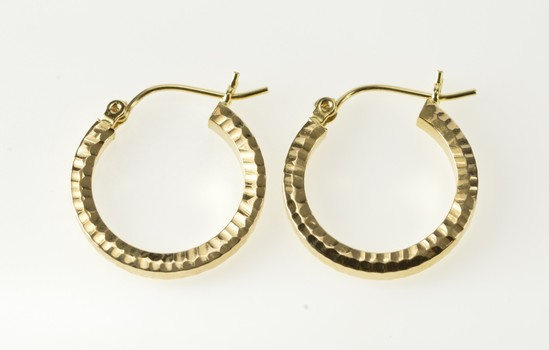 14K Squared Hammered Design Hollow Fashion Hoop Yellow Gold Earrings