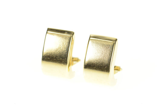 14K Squared Hollow Curved Semi Hoop French Clip Yellow Gold Earrings