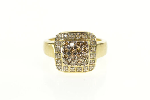 14K Squared Light Brown Diamond Halo Statement Yellow Gold Ring, Size 6