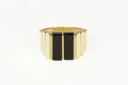 14K Squared Men's Black Onyx Graduated Yellow Gold Ring, Size 9.75