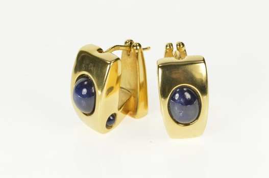 14K Squared Natural Sapphire Cabochon Hoop Yellow Gold Earrings