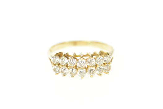 14K Squared Tiered Cubic Zirconia Statement Band Yellow Gold Ring, Size 7.25