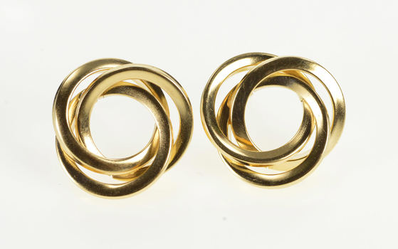 14K Squared Twist Interlocking Circles Post Back Yellow Gold Earrings