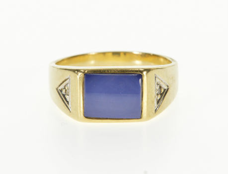 14K Star Sapphire Diamond Accented Men's Yellow Gold Ring, Size 10.25