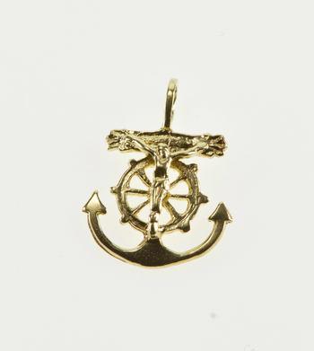 14K Stylized Anchor Crucifix Christian Symbol Yellow Gold Pendant