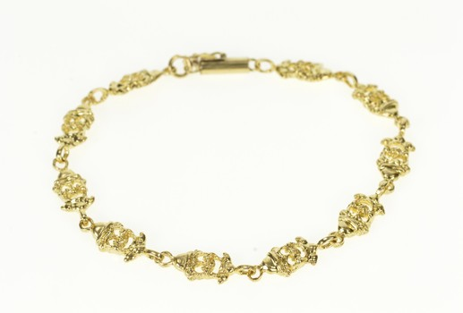 """14K Stylized Clown Face Circus Comedy Comedian Yellow Gold Bracelet 7"""""""