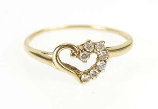 14K Swirl Heart CZ Anniversary Romantic Promise Yellow Gold Ring, Size 7.75