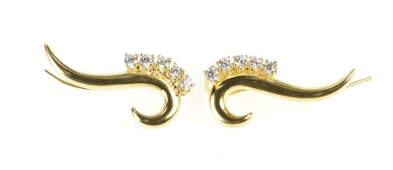 14K Swirl Scroll CZ Ear Climber Cuff Statement Yellow Gold Earrings