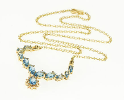 14K Swiss Blue Topaz Marquise Diamond Chain Yellow Gold Necklace 18.25""