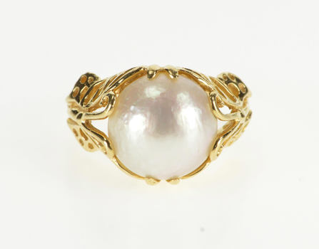 14K Syn. Pearl Butterfly Filigree Floral Design Yellow Gold Ring, Size 6.25