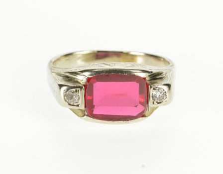 14K Syn. Ruby Diamond Accent Three Stone Ornate White Gold Ring, Size 8