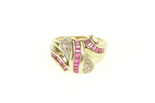 14K Syn. Ruby Diamond Cluster Statement Cocktail Yellow Gold Ring, Size 6