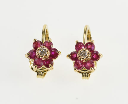 14K Syn. Ruby Diamond Inset Floral Cluster Clip On Yellow Gold Earrings