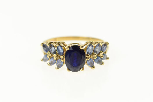 14K Syn. Sapphire Marquise Tanzanite Statement Yellow Gold Ring, Size 7