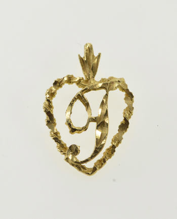 14K T Letter Initial Monogram Personalized Heart Yellow Gold Charm/Pendant