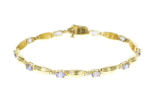 14K Tanzanite Diamond Accent Grooved Bar Link Yellow Gold Bracelet 7.25""