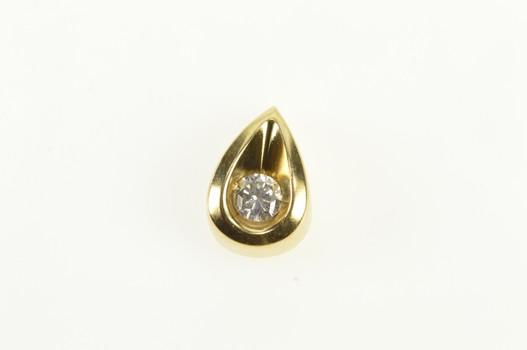 14K Tear Drop Diamond Solitaire Cute Yellow Gold Pendant