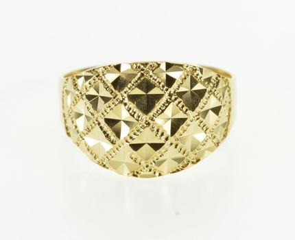 14K Textured Burst Design Lattice Rounded Statement Yellow Gold Ring, Size 6