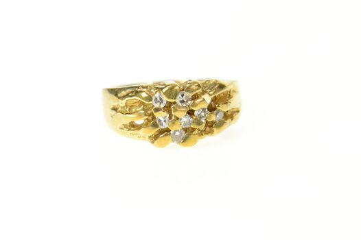 14K Textured Nugget Diamond Inset Cluster Yellow Gold Ring, Size 7.25