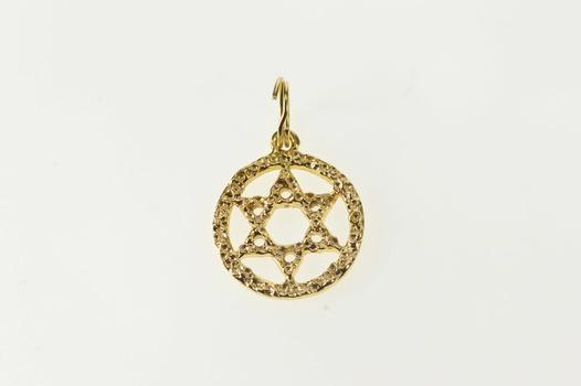 14K Textured Pattern Star of David Jewish Faith Yellow Gold Charm/Pendant