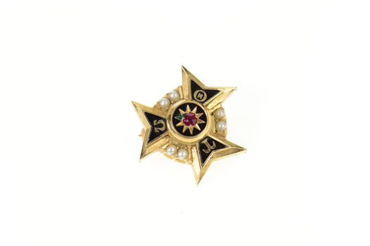 14K Theta Tau Omega Enamel Seed Pearl Lapel Yellow Gold Pin/Brooch