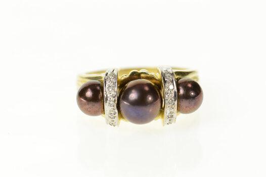 14K Three Stone Burgundy Pearl Diamond Statement Yellow Gold Ring, Size 9