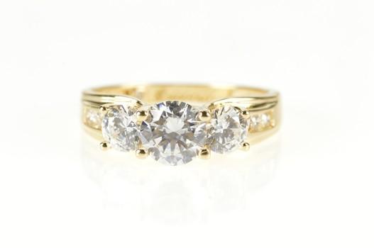 14K Three Stone Cubic Zirconia Travel Engagement Yellow Gold Ring, Size 10.75