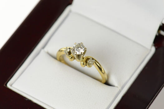 14K Three Stone Diamond Promise Engagement Yellow Gold Ring, Size 4.5