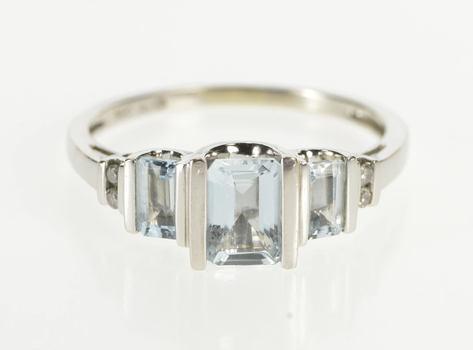 14K Three Stone Emerald Cut Blue Topaz Diamond White Gold Ring, Size 8.5
