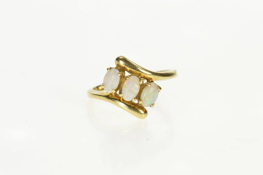 14K Three Stone Natural Oval Opal Bypass Yellow Gold Ring, Size 6