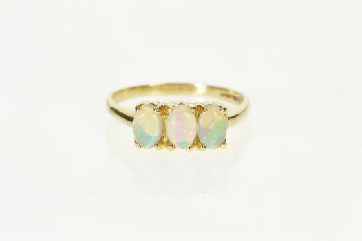 14K Three Stone Oval Natural Opal Statement Yellow Gold Ring, Size 7.5