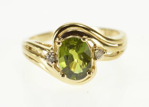 14K Three Stone Peridot Diamond Wavy Freeform Yellow Gold Ring, Size 6.25