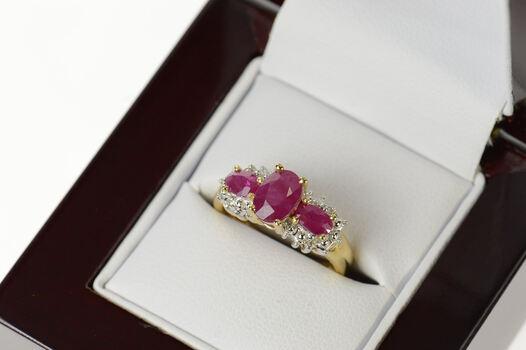 14K Three Stone Ruby Diamond Halo Statement Yellow Gold Ring, Size 5