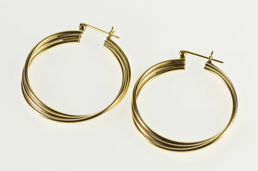 14K Three Tiered Twist Hollow Tube Hoop Yellow Gold Earrings