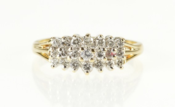 14K Tiered Diamond Row Cluster Statement Band Yellow Gold Ring, Size 8.5