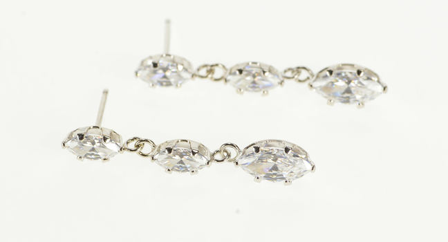 14K Tiered Marquise Cubic Zirconia Dangle White Gold Earrings