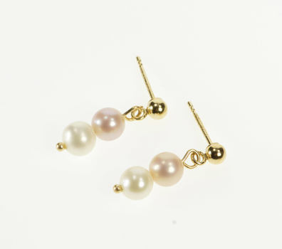 14K Tiered Round Pearl Dangle Post Back Stud Yellow Gold Earrings