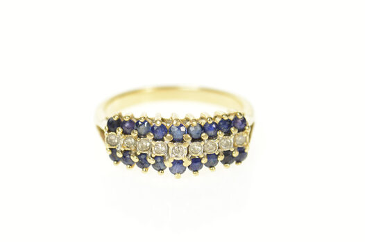 14K Tiered Sapphire Diamond Squared Row Band Yellow Gold Ring, Size 6