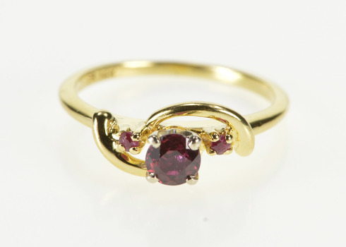 14K Tourmaline Ruby Accent Wavy Design Fashion Yellow Gold Ring, Size 5.25