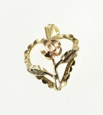 14K Tri Color Scalloped Heart Rose Flower Yellow Gold Pendant