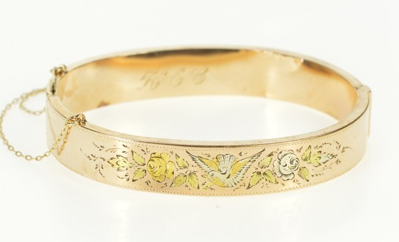 14K Tri Tone Etched Dove Floral Victorian Bangle Yellow Gold Bracelet 6.5""