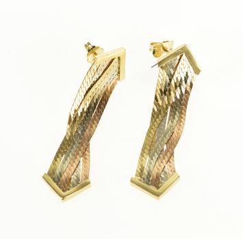 14K Tri Tone Herringbone Chain Criss Cross Tri Color Gold EarRings