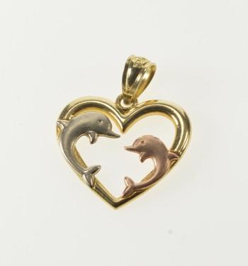 14K Tri Tone Jumping Dolphin Heart Ocean Lover Yellow Gold Pendant