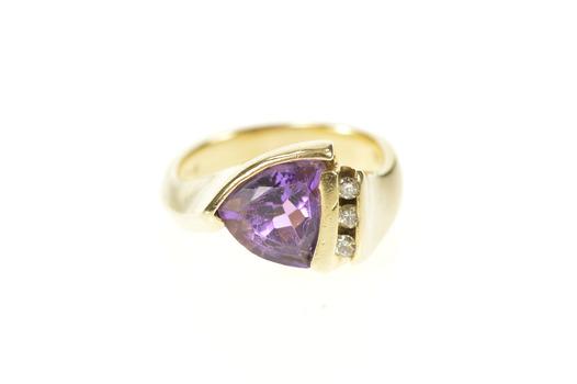 14K Trillion Amethyst Diamond Accent Statement Yellow Gold Ring, Size 6