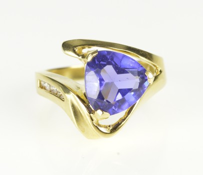14K Trillion Iolite Diamond Bypass Statement Yellow Gold Ring, Size 6.25