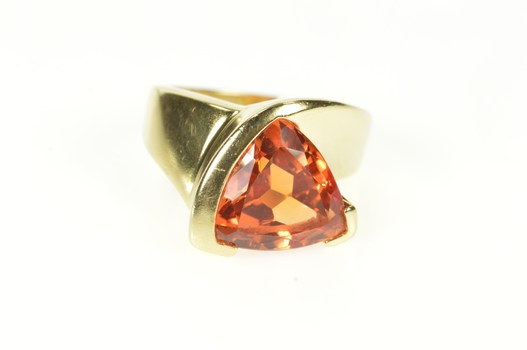 14K Trillion Syn. Mexican Fire Opal Cocktail Yellow Gold Ring, Size 5.5