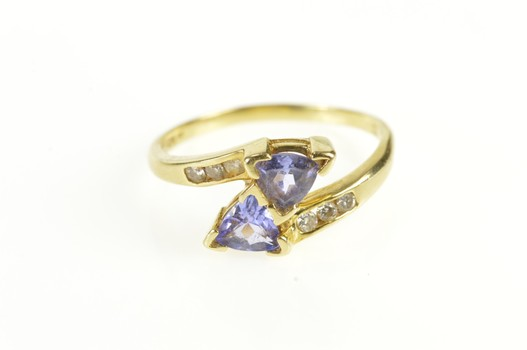 14K Trillion Tanzanite Diamond Accent Bypass Yellow Gold Ring, Size 8