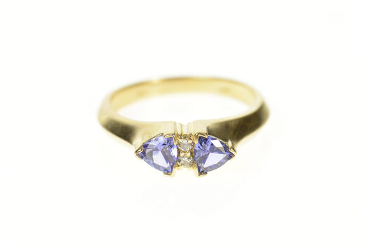 14K Trillion Tanzanite Diamond Accent Statement Yellow Gold Ring, Size 7