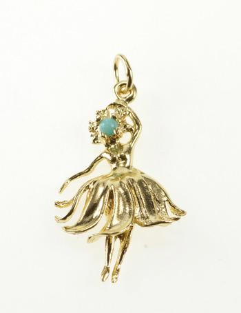 14K Turquoise Inset Ornate Petal Skirt Dancer Yellow Gold Charm/Pendant